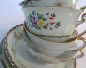 Vintage Mismatched China Cups & Saucers for Tea Party, Wedding, Bridal Shower, Bridal Luncheon, Tea Set, China Cups - Set of 4