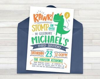 Dinosaur Birthday Invitation, Dinosaur Invitation, Reptile Birthday Invitation, First Birthday, Boys Birthday, Stomp Chomp Growl Roar - DIY