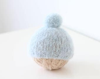 Newborn props - Baby boy hat - Newborn hat - Baby boy props - Photo prop hat - Pom pom hat - Blue - Baby boy pom pom hat - Newborn boy