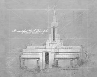 8X10 Digital File, Bountiful Utah Temple, Black and White Sketch, INSTANT DOWNLOAD