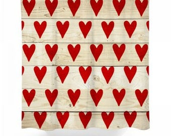 Rustic Hearts Shower Curtain