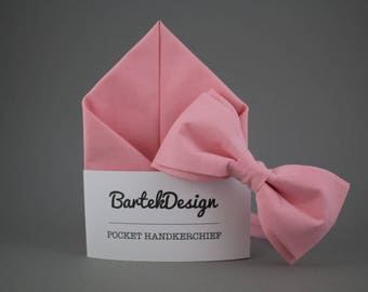 Pink Matching Set Bow Tie Pocket Square Pink Bow Tie for Men Pink Handkerchief Cotton Bow Tie Mens Bow Tie Wedding Set Pink Gift for Men