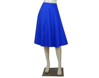 Royal Blue Taffeta Skirt Plus Size Bridesmaid Wedding Skirt Tea Length Prom Midi Skirt 0X 1X 2X 3X 4X