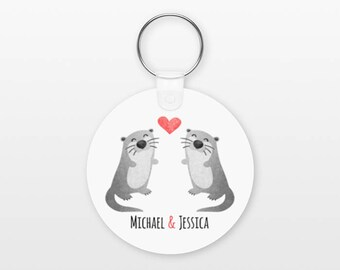 Otter Keychain, Couple Keychain Personalized Keychain, Boyfriend Keychain Girlfriend Keychain, Couple Key Chain, Animal Keychain, Keyring