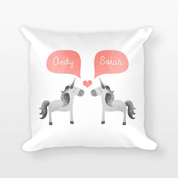 UNICORN Pillow, Animal Couple Pillow, Personalized Pillow, Engagement Gift for Couple, Custom Throw Pillow, Decorative Pillow for Couch