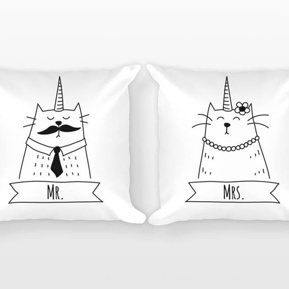 Caticorn Mr and Mrs Pillows, Cat Unicorn Couple Pillows, Wedding Gift, Couple Gift Set of 2 Throw Pillows, Engagement Gift Anniversary Gift