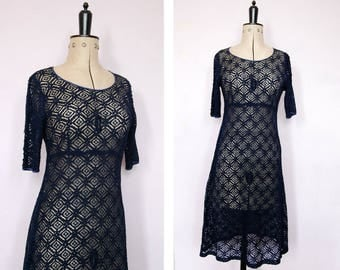 Vintage navy blue lace dress - Vintage lace dress - Lace midi dress - 1990s grunge lace dress - Babydoll dress - Lace dress