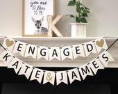engagement party decorations - bridal shower banner - personalized engagement decorations - engagement banner - Engaged - name banner set