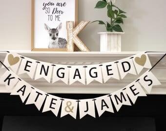 engagement party decorations - bridal shower banner - personalized engagement decorations - engagement banner - Engaged - name banner set