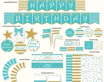 Birthday Party, Printable, Turquoise and Gold Glitter, Banner, Cupcake Toppers, Tags and More