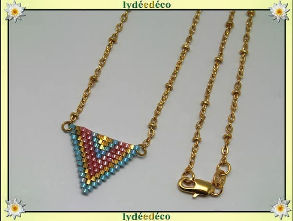 Necklace plated gold 18 k blue pink and gold triangle chevron chain weaving ball