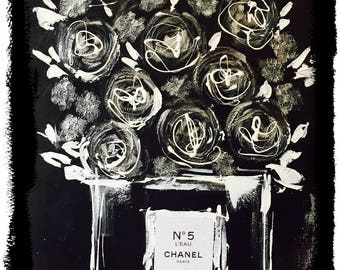 Chanel n.5 Print on Canvas, Coco Chanel, Giclee Art Print,  Fashion Illustration by Lana Moes, Chanel Wall Art, Chanel Perfume Art, Chanel