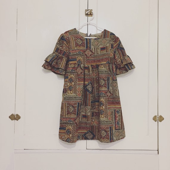 1960s Hippie New Vintage Ruffle•Girls Dress•Holiday•Fall•Winter