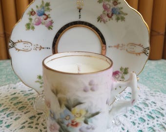 Mismatched! Delicate Demitasse Teacup Candle and Saucer