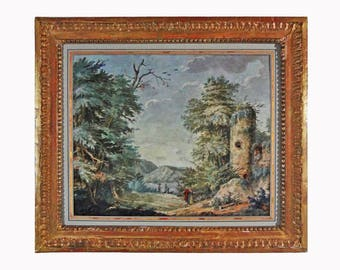 Antique Gouache Castle Ruins Painting in Woody Landscape with Lake and Figures - c. 18th Century, Europe