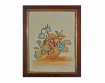 American Folk Art Theorem Picture on Velvet Fruit Basket with Grapes and Cherries Signed Lillian Marshall Framed