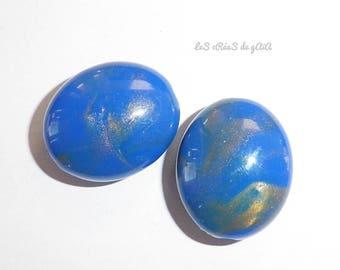 1 x dark blue and gold plastic bead