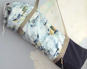 Yoga bag, Yoga mat bag, Yoga mat carrier - Watercolour Sailboat - Turquoise, mustard, green - Medium-Large