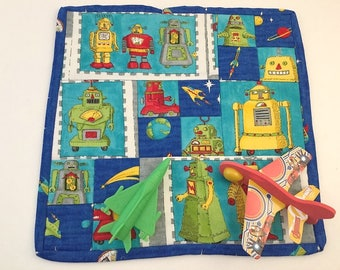 Mini-Quilt, Trivet, Pot Holder, Play Mat, Table Topper- Robots and Space, Boys!