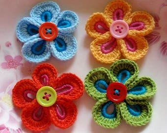 4 Crochet  Flowers With Button YH - 240
