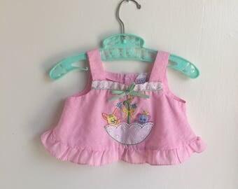 VTG Cotton Candy Pink Shirt Top Umbrella Animals Lace Sz 3-6M