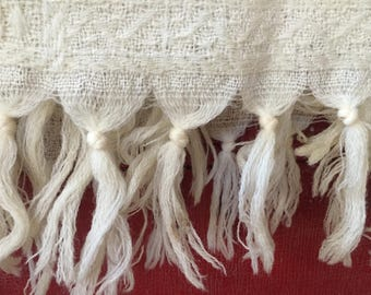 Vintage Cream Wool Baby Blanket, All Wool, Made in Scotland, Mid Century, Lovely Workmanship
