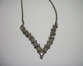Rhinestone V Shaped Necklace Vintage Rhinestone Necklace V Center Necklace
