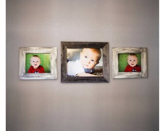 Set of 3 Picture Frames Made from Reclaimed Wood: One 16x20 Frame and Two 11x14 Frames