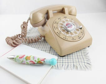 1960s Vintage 'Western Electric' Tan Rotary Phone  - Sturdy With Attached Landline - Great Color - Model G3 - Made in USA - Tan/Buff/Beige