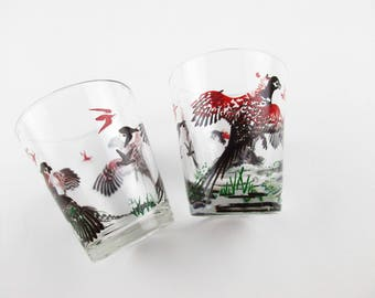 Pair of 2 Oz. Shot Glasses - Pheasant Drinking Glasses  - Gold Detailed Pheasants - Mix and Match - Den - Barware - Sporting - Hunting