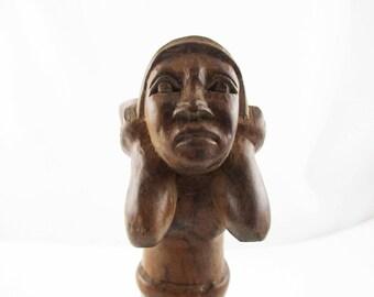 Wood Carved Figure - Female Figure - Detailed Wood Carving - 6 Inch Wood Figure - Carved Wood - Imported Wood Carving - Unmarked Wood Figure