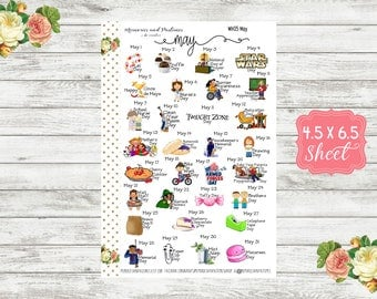 WH05 Celebrate May Planner Stickers - National Holiday Stickers - Special Days Stickers - Wacky Holiday Stickers - Holiday Planner Stickers