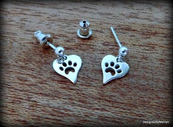Sterling silver paw print earrings, ball post earrings, pet lovers jewelry, cat paw earrings, puppy paw earrings, heart paw