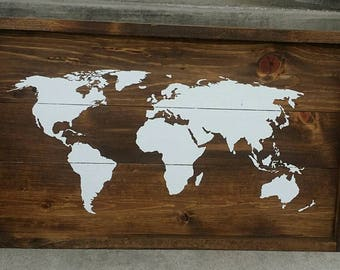 World Map, Rustic Sign, wood sign, farmhouse style framed plank sign