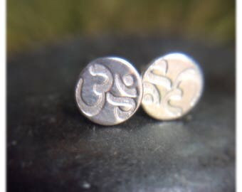 Silver Om earrings - Sterling Silver Studs - Yoga Jewelry - Om Symbol - Stud earrings - Yoga gifts - Silver earrings