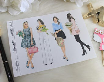 FLower Girls Planner Stickers, Planner Supplies