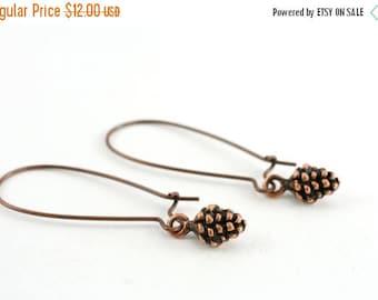 25% OFF SALE Tiny Pine Cone Earrings, Copper Pinecone Charm, Dangle Earrings