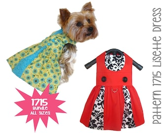 Lisette Dog Dress Pattern 1715 * Bundle All Sizes * Dog Clothes Sewing Pattern * Small Dog Dress Pattern * Dog Harness Dress * Dog Apparel