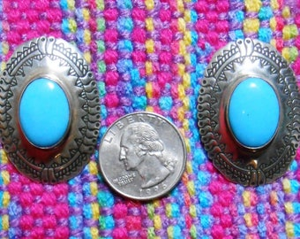 Native American Sterling Silver and Turquoise Cabochon Pierced Earrings