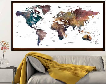 Watercolor World Map Art,World Map Poster,World Map Wall Decal,World Map Print,Educational Map,World Map Watercolor,World Map Art Print,Map