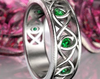 Celtic Emerald Wedding Ring With Infinity Knot Design in Sterling Silver, Made in Your Size CR-511