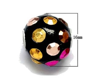 2 large beads of polymer clay and Rhinestones, black and multicolored 16mm