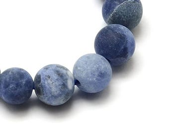 10 round beads 6mm (not dyed) natural Sodalite frosted (frosted effect)