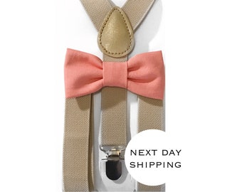coral bow tie & khaki suspender set,suspenders,baby suspenders,boy bow tie,coral bow tie,easter bow tie,easter boy bow tie,suspender set