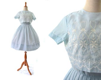 1950s Dress, 50s Dress, Blue Dress, Summer Dress, Cotton Dress, XS Dress, Small Dress, Size 0 Dress