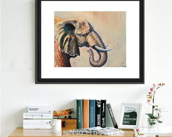 Spirit animal art- elephant prints- giclee- elephant gifts, wall art, elephant paintings, elephant decor, elephant lover gift, elephant love