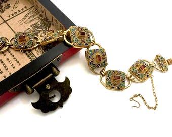 Chinese Export Sterling Silver Bracelet, 14K Gilt Plating, Intricate Filigree, Topaz Stones, Floriated Multi-Colored Enamel Links, Vintage