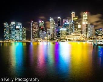 Singapore City Skyline Marina Bay  Art Print Landscape Photography
