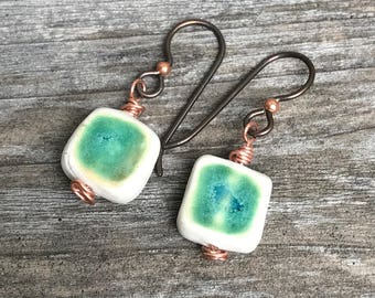 Handmade porcelain earrings - turquoise with copper ear wires