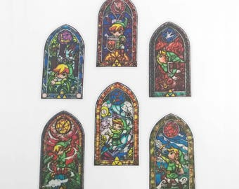 Legend of Zelda: WindWaker Stained Glass Windows Iron-On Patches - Limited Stock
